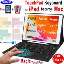 Волшебная сенсорная клавиатура для iPad 10,2, чехол для клавиатуры для Apple iPad 9,7 2017 2018 Air 2 3 4 Pro 9,7 10,5 11 2018 2019 2020 8th
