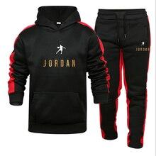 2021New Men Hoodies Suit Jordan 23 Tracksuit Sweatshirt Suit Fleece Hoodie+Sweat pants Jogging Homme Pullover Sporting Suit Male