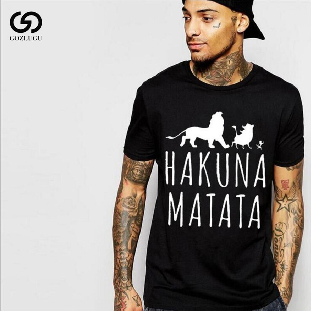 Men's Fashion Short-sleeved T-shirt Summer HAKUNA MATATA English Printing Europe And America