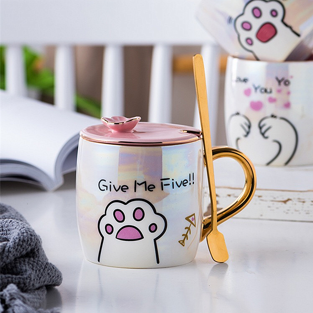 Cartoon Ceramics Cat Mug With Lid and Spoon Coffee Milk Mugs Cute Creative Breakfast Cup Valentine's Day Wedding Birthday Gift (4)