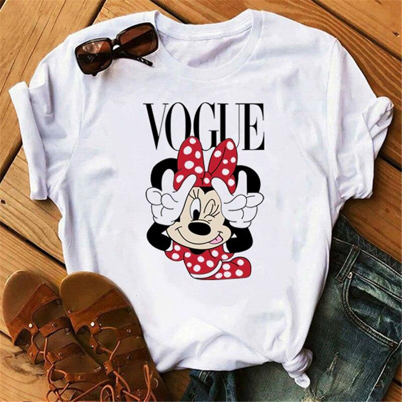 Cartoon Minnie Mouse Cute T Shirt Vogue Women Mouse Printed Shirt Tumblr Femme Girl Tees Hipster Kawaii Holiday Summer Femme Top