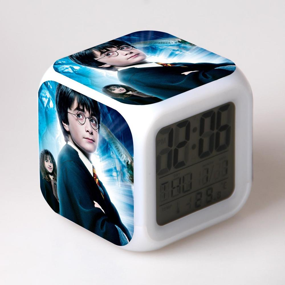 Harri Potter Hermione Anime Figure Toys Alarm Clock Student Desk Led Digital Color Changing Clocks Night Light Thermometer Gift