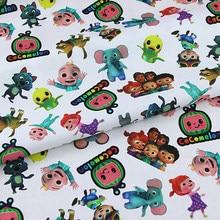 140cm dos desenhos animados cocomelon família plain tecer 100% tecido de algodão para crianças roupas hometextile slipcover capa de almofada diy material