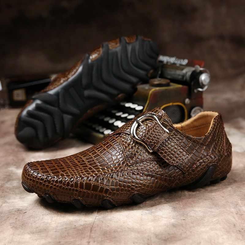 2019 Marka erkek mokasen ayakkabıları Erkekler rahat ayakkabılar Hakiki Erkek Deri sürüş ayakkabısı Timsah Doku erkek Flats Ayakkabı Artı Boyutu 38-46