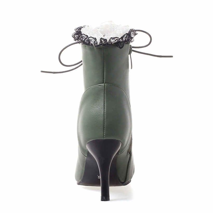 Kış kadın Martin çizmeler 8cm ince başak yüksek topuklu beyaz siyah PU rahat ofis kadın sivri burun Lace Up stiletto yarım çizmeler