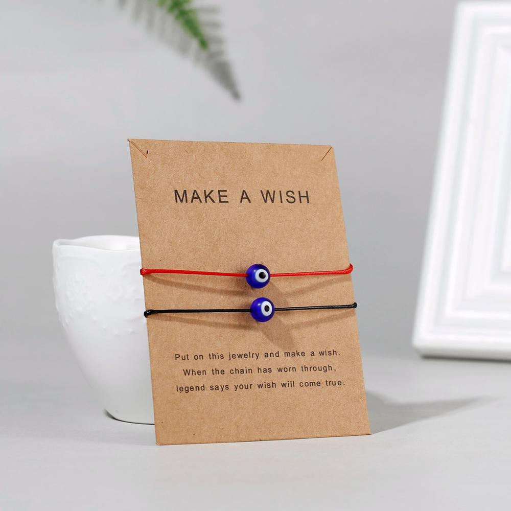 Комбинированный браслет с картой Новое красное ожерелье черный ремень любовь Смола синий глаз кулон браслет Пара друг регулируемый браслет - Окраска металла: 5