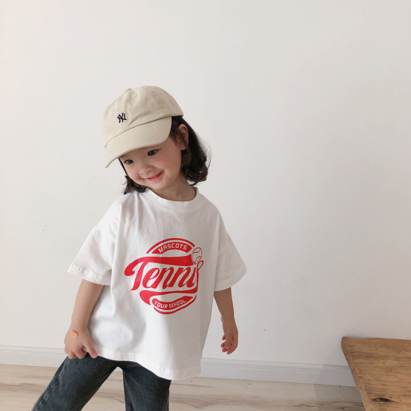 MILANCEL Kids T Shirt  Summer Boys Clothes Letter Print Girls Tee Cotton Boys Base T Shirts