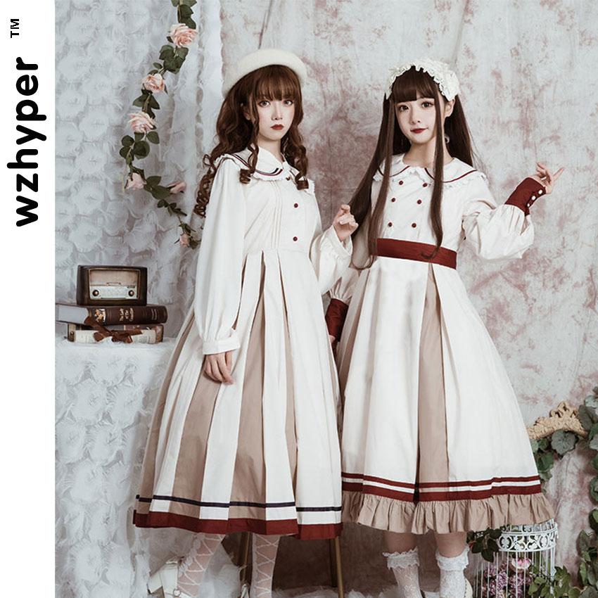 Long Sleeve White OP Gothic Lolita Dress Harajuku Street Fashion Cross Cosplay Female Bow Dress Japanese Soft Sister Style Dress