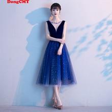 Gown Prom-Dresses Robe-De-Soiree Tull Royal-Blue Plus-Size Vestidos Women New Short Midi