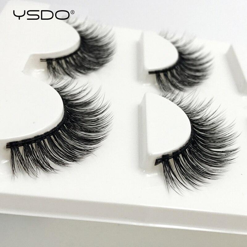 YSDO 3 Pairs Eyelashes Natural Long 3d Mink Lashes Strip Eyelashes Mink Lashes False Eyelashes Hand Made Fake Lashes Maquiagem