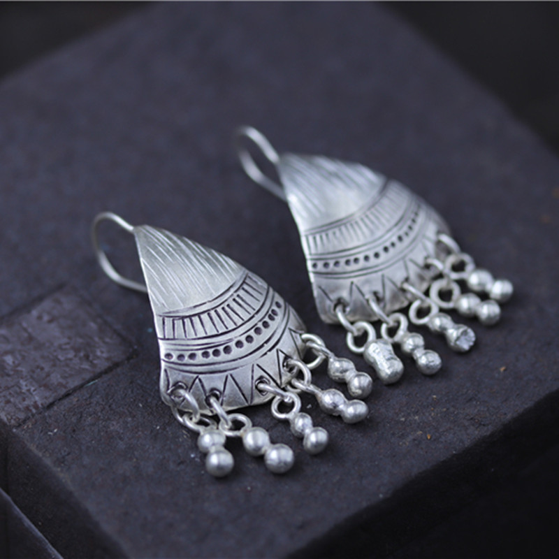 Silver 925 Jewelry Fringed Pure Earrings Exaggerate Women Party Engagement Wedding