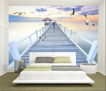 Custom wallpaper mural sea trestle seagull landscape background wall mural home decor living room bedroom 3d wallpaper custom 3d mural children room wallpaper bedroom background wall mural cartoon candy cake shop wallpaper mural
