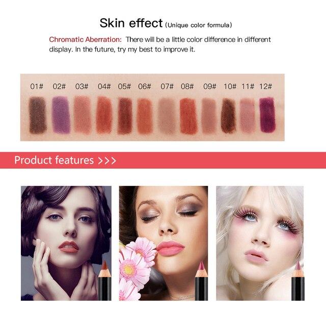12 Colors Lip Pencils Matte Lipliner Waterproof Smooth Colorful Silk Nude Lipstick Pen Long Lasting Pigments Lip Makeup TSLM1 3