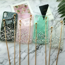 Luxury glitter transparent silicone Crossbody chain phone case for
