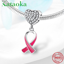 New 925 Sterling Silver ribbon Pendants pink Beads with heart CZ charms Fit Original Pandora Charm Bracelet Jewelry making