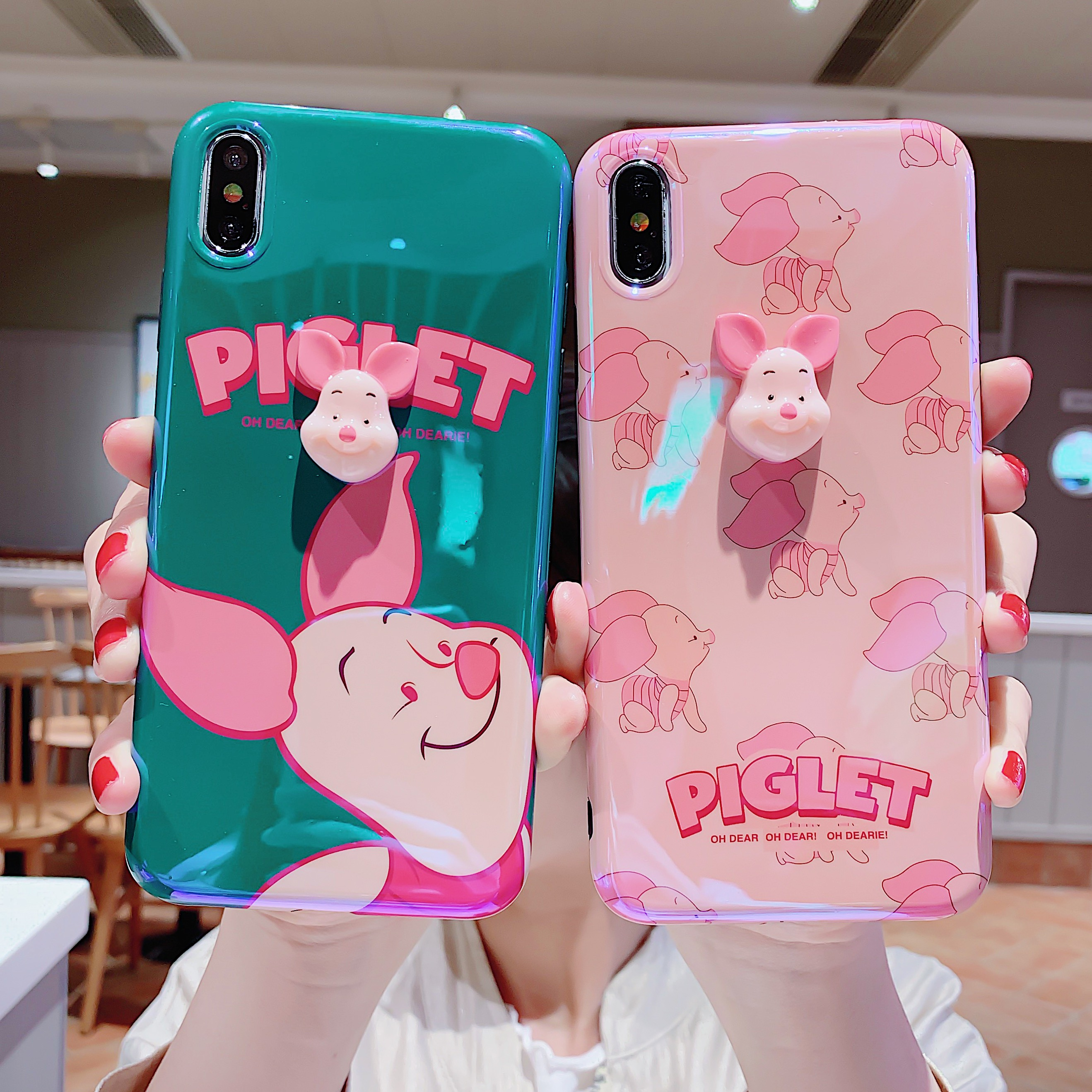 The New Cartoon cute Anti-fall Blu-ray Pijie Pig IMD For iphone 6 6S 7 7plus 8 8Plus iphone X XR MAX Case Cover Phone Case image