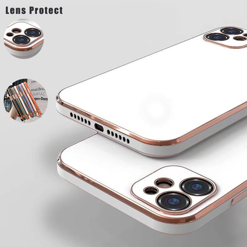 Square Frame Plating Case For iPhone 11 Lens Protection Bling Gold Soft Slim Cover For iPhone 11 Pro Max XS XR X 7 8 6s Plus