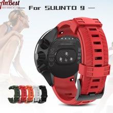 Pulseira de relógio de silicone macio para suunto 9 baro 24mm bandas esporte ao ar livre silicone smartwatch cinto para suunto 9 watchs acessório