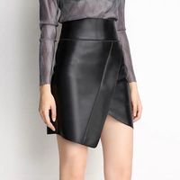 Mini leather skirt sexy pencil skirt black real sheepskin leather skirts women