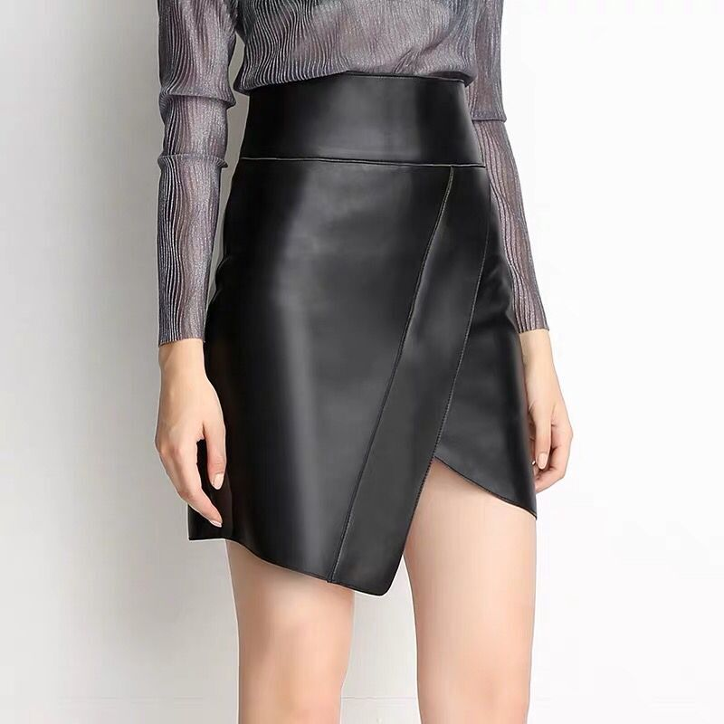 Mini Leather Skirt Sexy Pencil Skirt Black Real Sheepskin Leather Skirts Women
