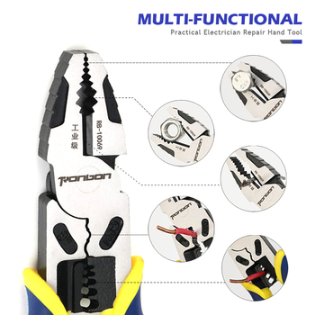QUK Electrician Pliers Wire Cutter Cable Stripping Crimping Tool Industrial Grade Multitool Household DIY Repair Hand Tools 2