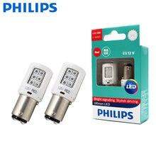 Philips-luces LED antiniebla de marcha atrás para coche, indicadores de intermitentes de color rojo, P21 / 5 W, S25, 1157, 11499ULR, Ultinon, par