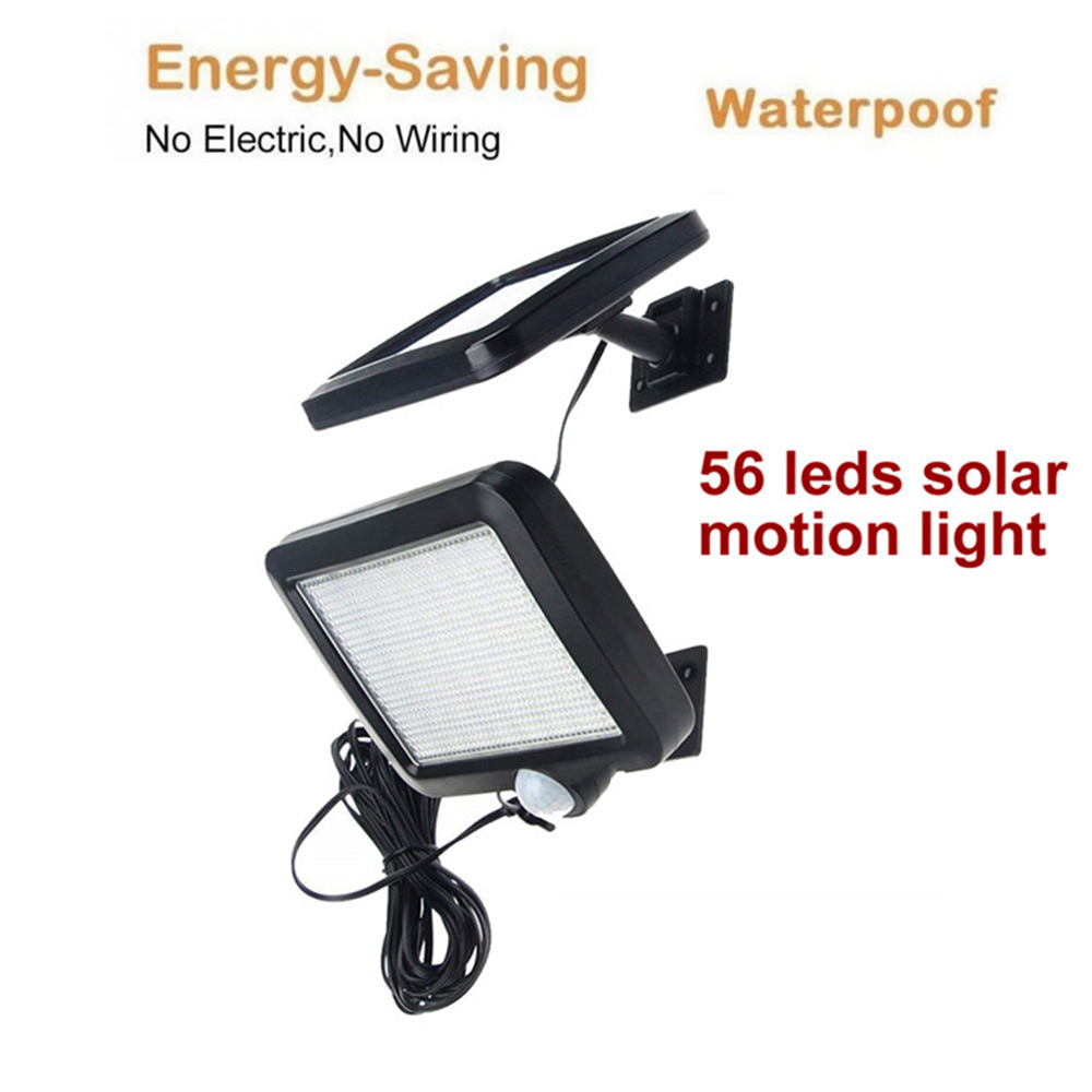 56/30 LED Solar Power Lamp PIR Motion Sensor Garden Lights Outdoor Waterproof Energy Saving Wall Yard Lamps Split Mount 5M Cable