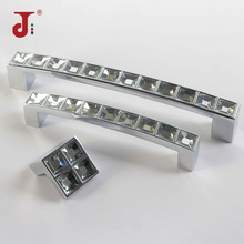 цена на 96/128mm Modern Simple Style Handle Crystal Solid Aluminum Handle for Furniture Crystal Cabinet Knobs Drawer Wardrobe Pull