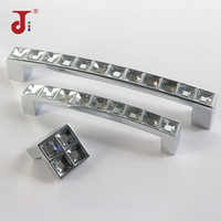 96/128mm Modern Simple Style Handle Crystal Solid Aluminum Handle for Furniture Crystal Cabinet Knobs Drawer Wardrobe Pull
