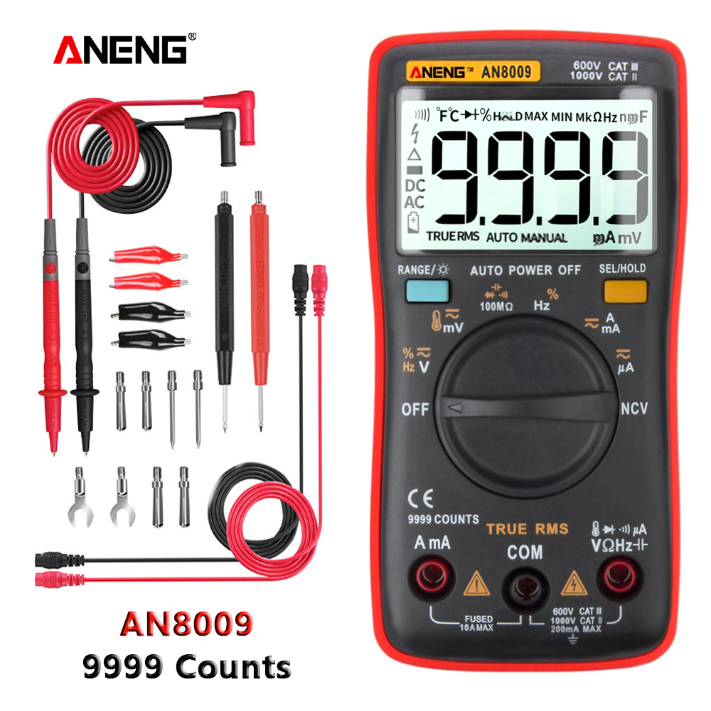 ANENG AN8009 True-RMS Digital Multimeter Transistor Tester Capacitor Tester Automotive Electrical Capacitance Meter Temp Diode