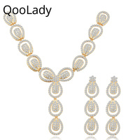 QooLady Luxury Yellow Gold African Dubai Jewelry Set Cubic Zircon Long Earrings Necklaces for Bride Wedding Accessories Z013