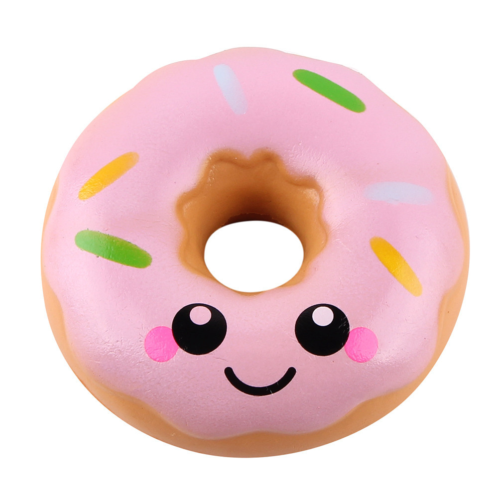 Cute Colorful Chocolate Donut Slow Rising Simulation Food Stress Relief Toy For Kids Fun Xmas Gift Childrens Party Decorations#A