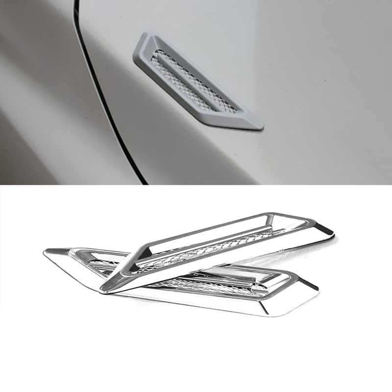 2 Car Shark Gill Decorative Air Vent Fender Hole Intake Duct Flow Grille Sticker
