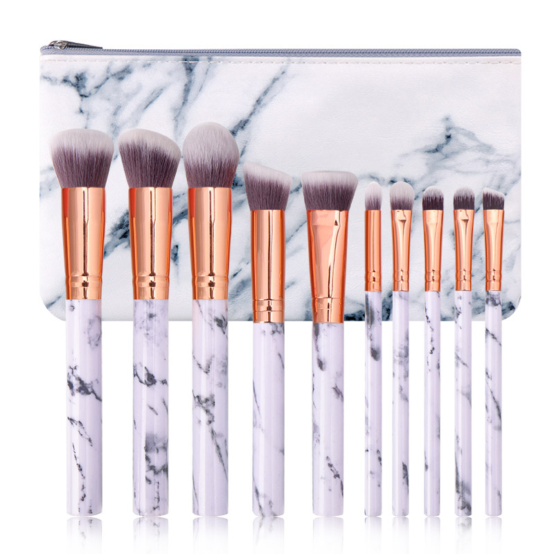 Makeup Brushes 10pcs Set Soft Nylon Foundation Powder Blush Contour Concealer Blending Brushes Cosmetics Cosmetic Bag Tool Kit in Eye Shadow Applicator from Beauty Health