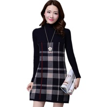 Женский тонкий свитер с длинными рукавами на весну, осень и зиму, Толстый Пуловер, вязаный мини-свитер, платье, модный большой свитер