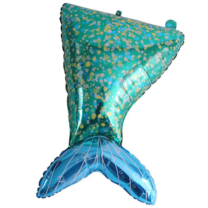 New 90cm Aliuminium Foil Helium Green Mermaid Tail Balloon For The Little Mermaid Birthday Party Decorations Kids
