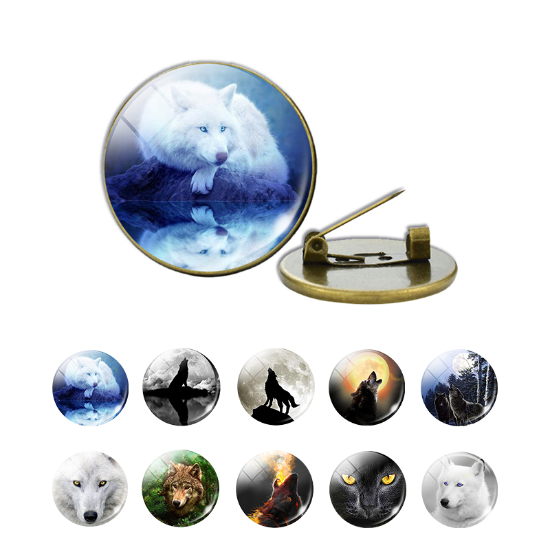 Wolf and Moon Badge Vintage Glass Cabochon Brooch Clothes Lapel Pin Men Women Fashion Accessories