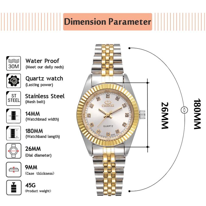 Женские кварцевые часы CHENXI, повседневные часы из нержавеющей стали золотого цвета, xfcs