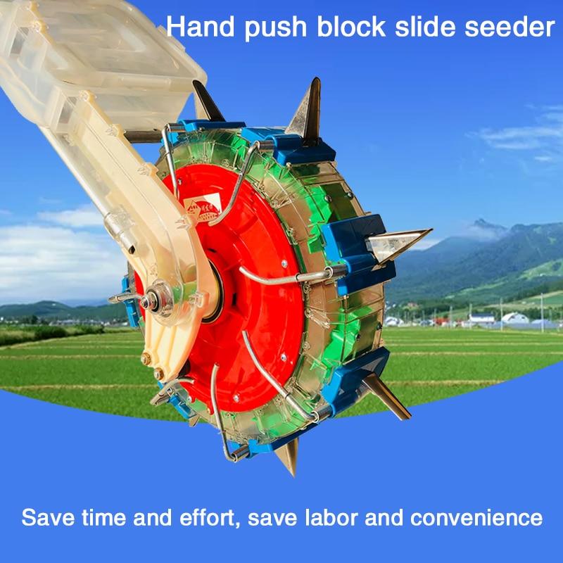 Agricultural Hand Push Wheel Throw Fertilizer Machine Vegetable Corn Peanut Herb Planting Adjustable Fertilizer Seeding Artifact
