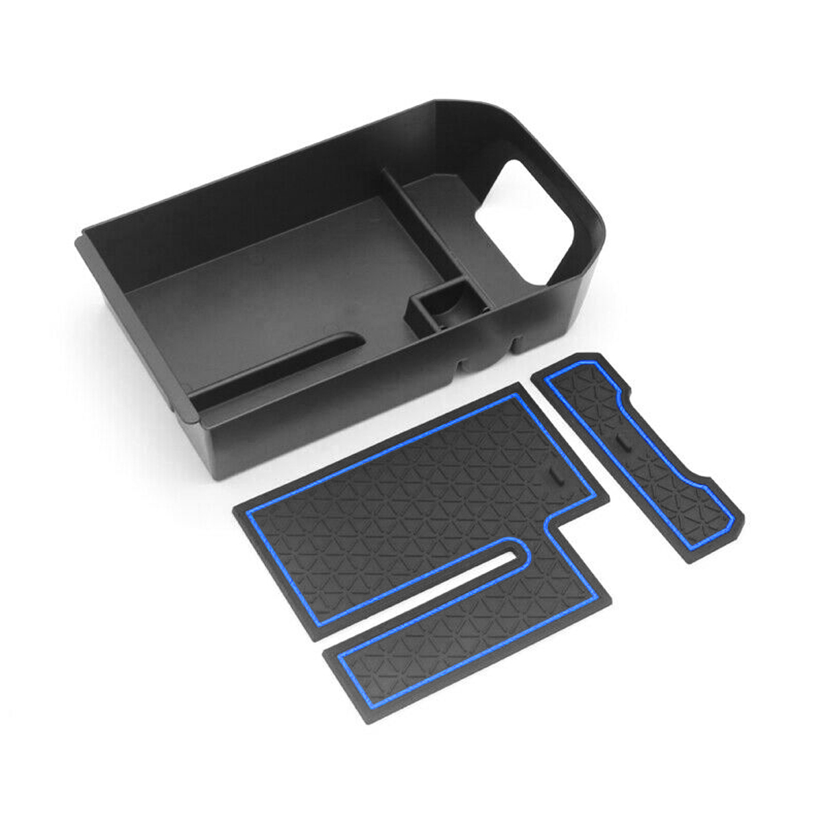 SKTU Compatible with 2020 2021 Celtos Car Center Console Organizer Insert ABS Black Materials Tray Kia Armrest Box Glove Secondary Storage Box with Coin and USB Hole