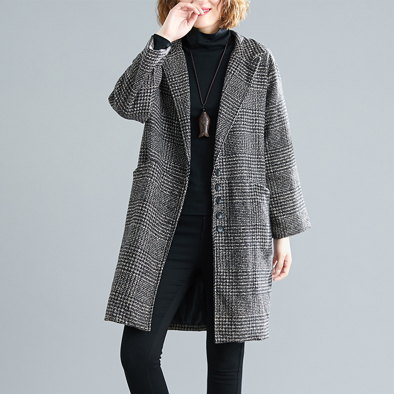 2019 Photo Shoot Autumn And Winter Loose-Fit Slimming Large Size Woolen Jacket Plus-sized Womenswear Size Literature And Art Cas