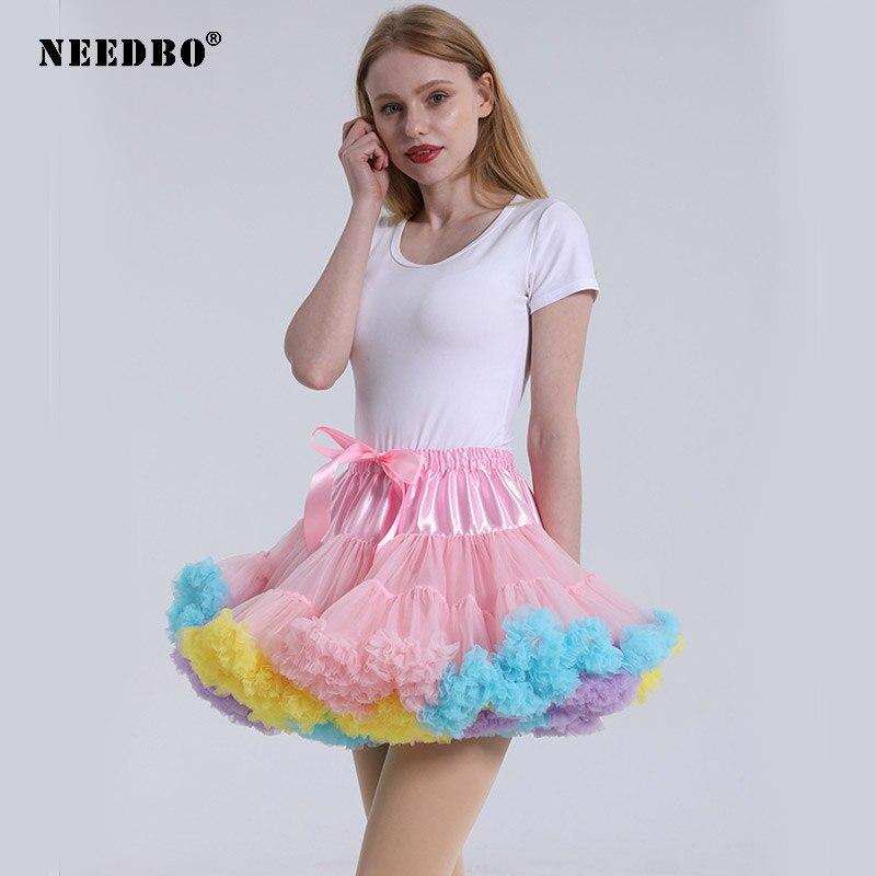NEEDBO Tutu Skirt Women Princess Patchwork Mini Skirt Women Party Dance Mesh Tulle Skirt Women 40cm Bridesmaid Wedding Skirts