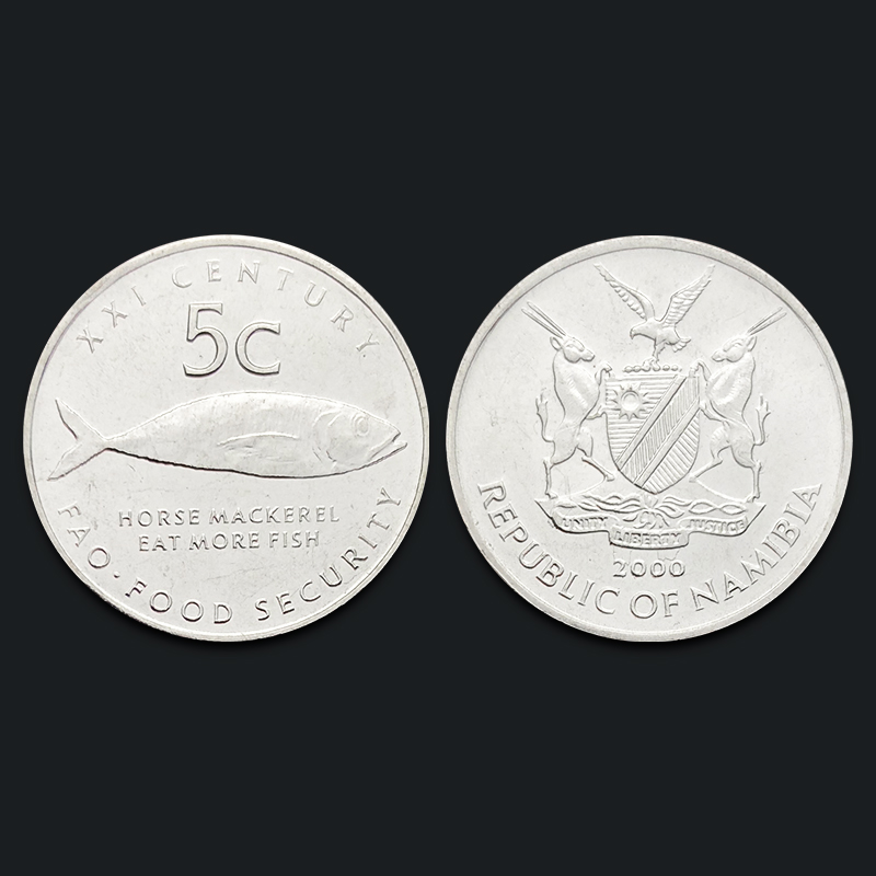 Namibia 5 Cents Fao Animal Fish 2000 Genuine Original Coins 100% Real Issuing Collection Coins Unc Africa