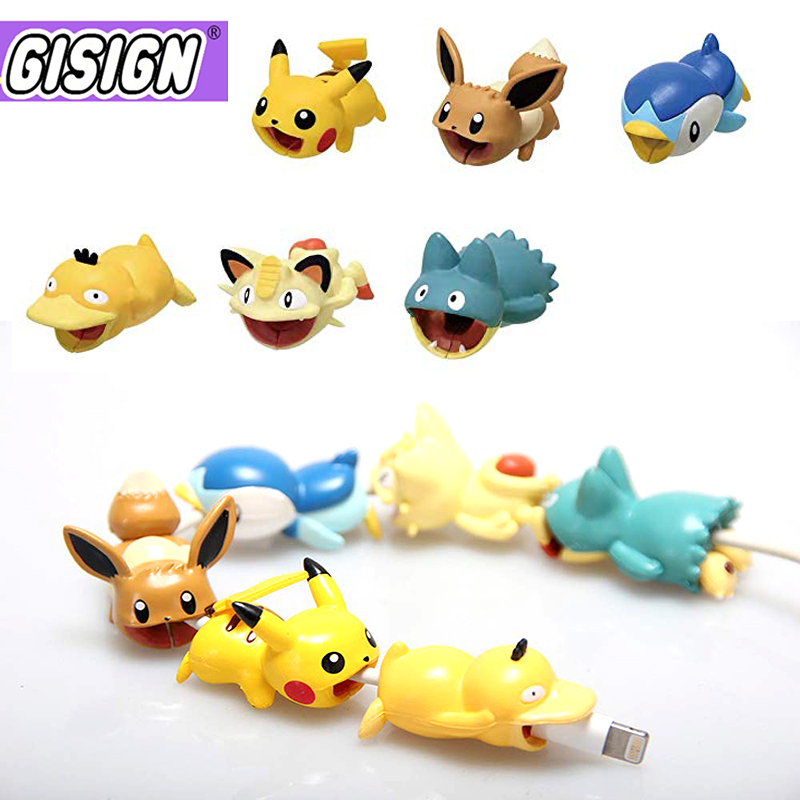 Anime Cable Bite Protector Line For Iphone Accessory Cute Cartoon Protege Cable Stitch One Peace Goku Doll Model Funny Toys