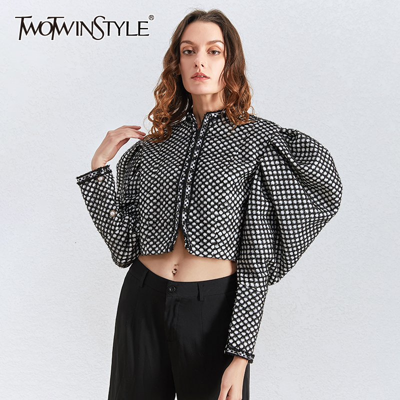 TWOTWINSTYLE Ruched Plaid Jackets For Women O Neck Puff Long Sleeve Casual Short Female Coats Autumn Fashion 2020 Tide Clothing