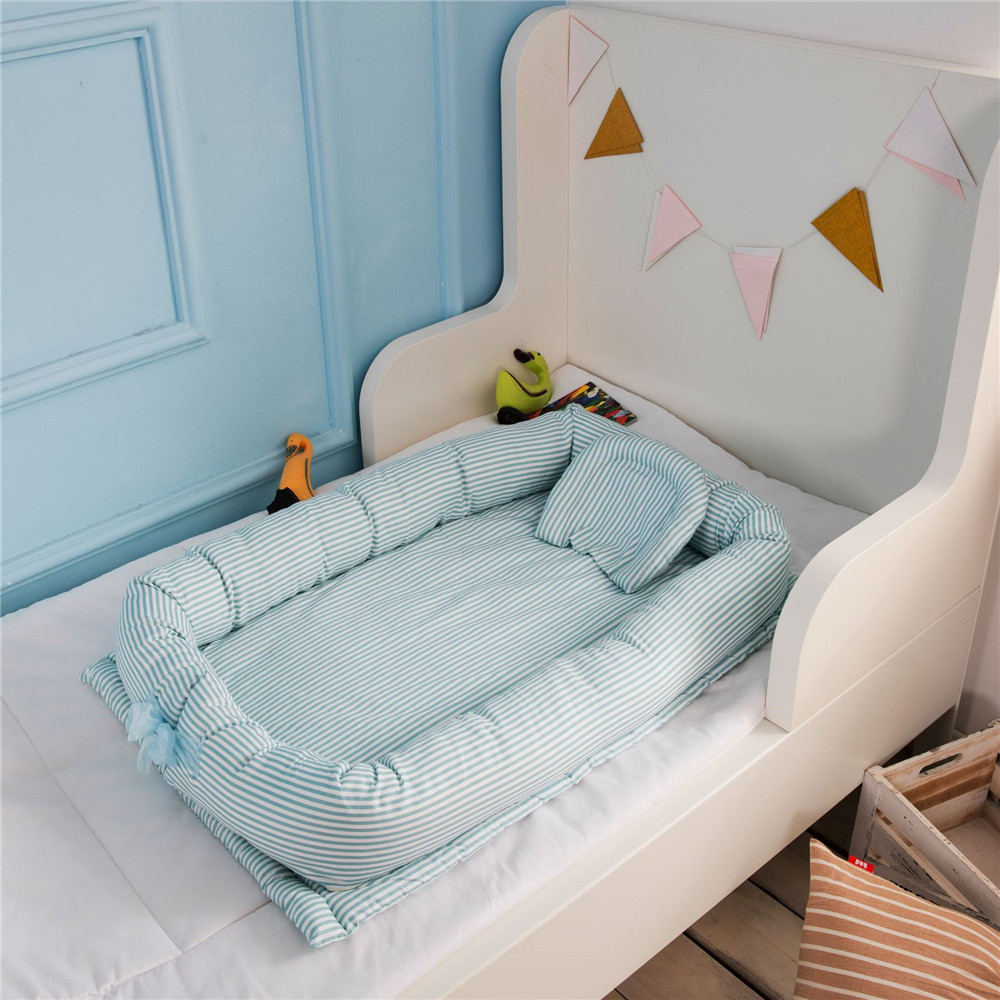 1 Pc Newborn Baby Bed Portable Cotton  Travel  Crib Bumper Removable Washable 90*55*15 Cm