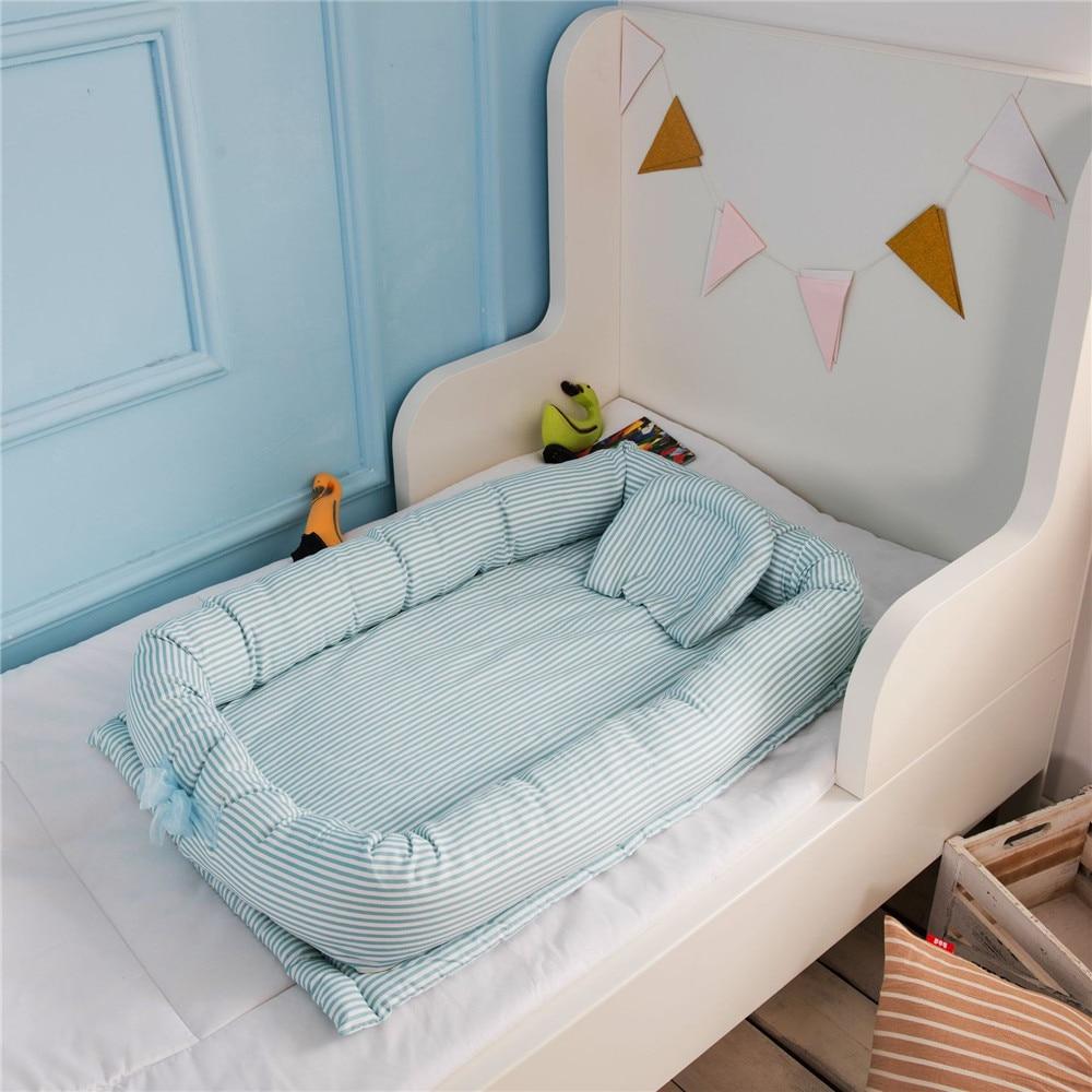 1 Pc Newborn Baby Bed Portable Cotton  Travel  Crib Bumper Removable Washable 90*55*15 Cm