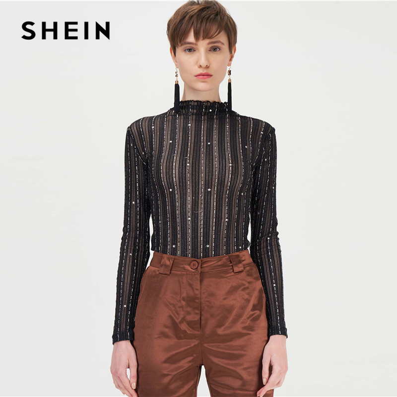 SHEIN Black Stand Collar Silver Thread Sheer Star Mesh Sexy Tee Women Tops Autumn Long Sleeve Night Out Glamorous Skinny T-shirt 1