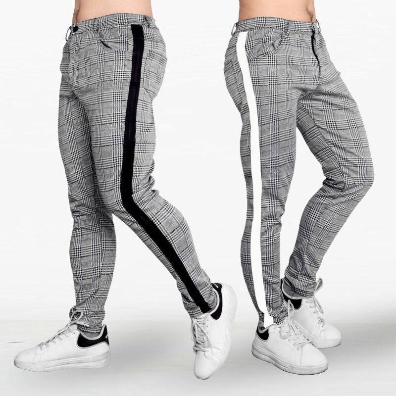 Explosion Models Fashion Tide Brand Men Feet Plaid High Elastic Slim Fit Tracksuit Bottoms Skinny Joggers Sweat Pants Trousers