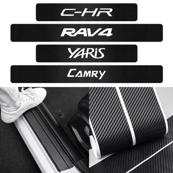 Dla Toyota Yaris Camry Avensis RAV4 Highlander Prado Prius TRD C-HR 4 sztuk akcesoria samochodowe 4D drzwi z włókna węglowego próg naklejki tanie i dobre opinie Drzwi i linii Talii CN (pochodzenie) Logotyp pojazdu 3d carbon fiber vinyl 60cm Words Włókno węglowe Osłona z włókna węglowego